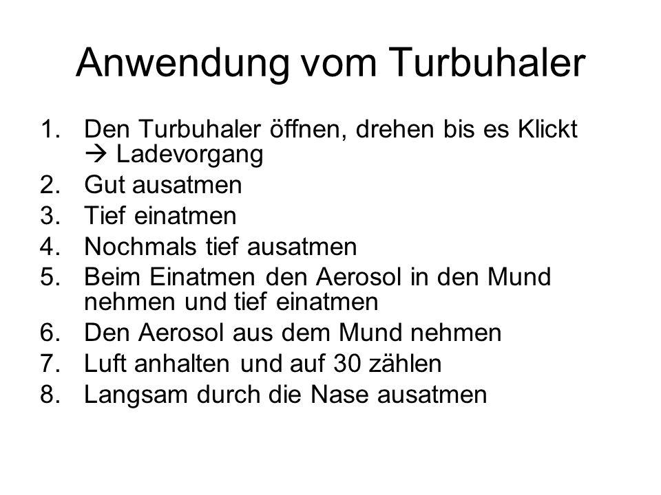 Anwendung vom Turbuhaler 1.Den Turbuhaler öffnen, drehen bis es Klickt Ladevorgang 2.Gut ausatmen 3.Tief einatmen 4.Nochmals tief ausatmen 5.Beim Eina