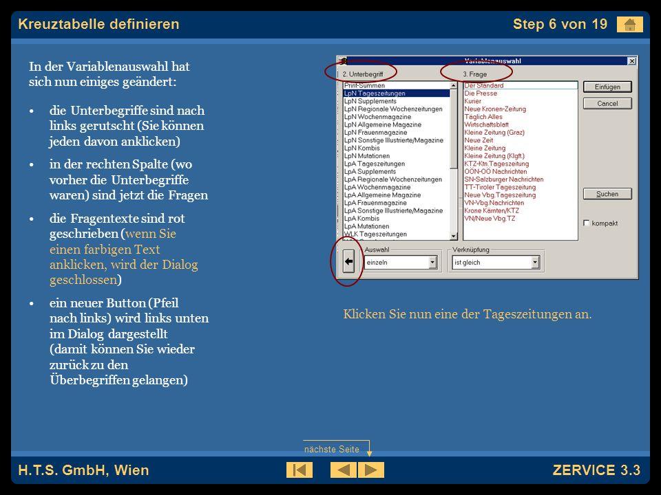 H.T.S. GmbH, Wien ZERVICE 3.3 Es wird jetzt das Fenster Variablenauswahl geöffnet.
