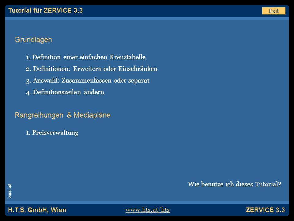 H.T.S. GmbH, Wien ZERVICE 3.3 Hinweis Für dieses Tutorial wurde ZERVICE | PRO verwendet.