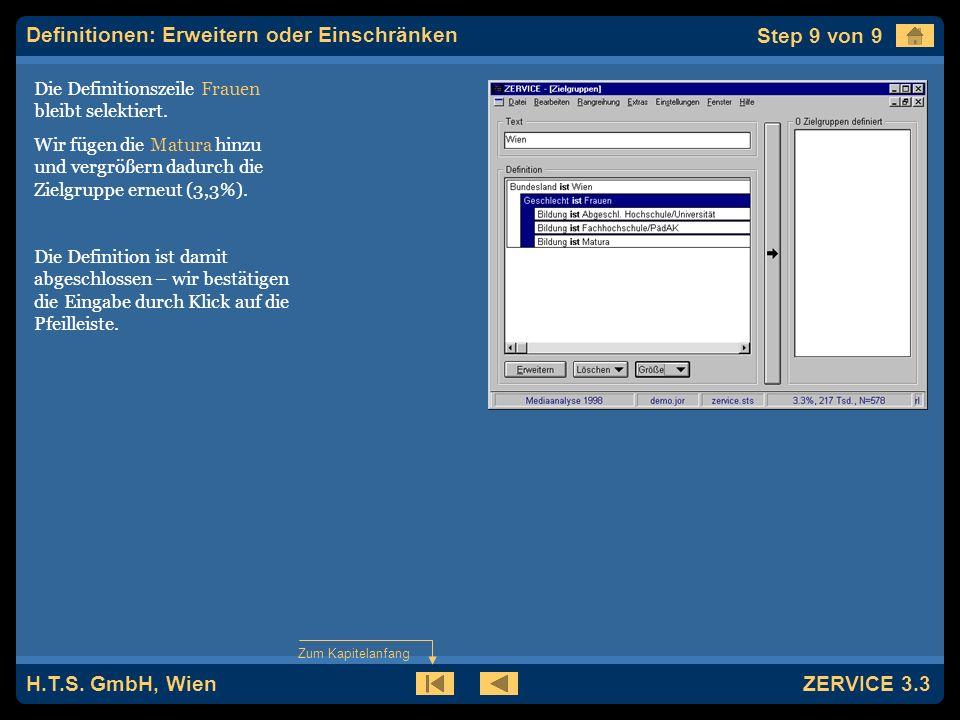 H.T.S. GmbH, Wien ZERVICE 3.3 Die Definitionszeile Frauen bleibt selektiert.