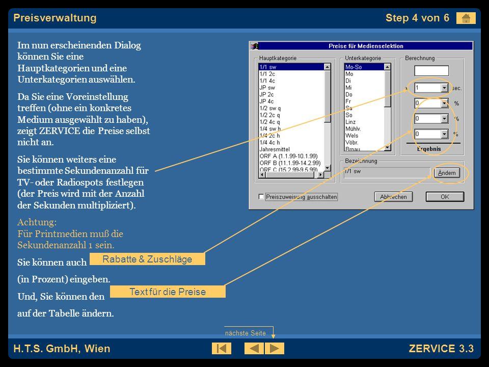H.T.S. GmbH, Wien ZERVICE 3.3 Irgendeine Preiskategorie ist immer voreingestellt.
