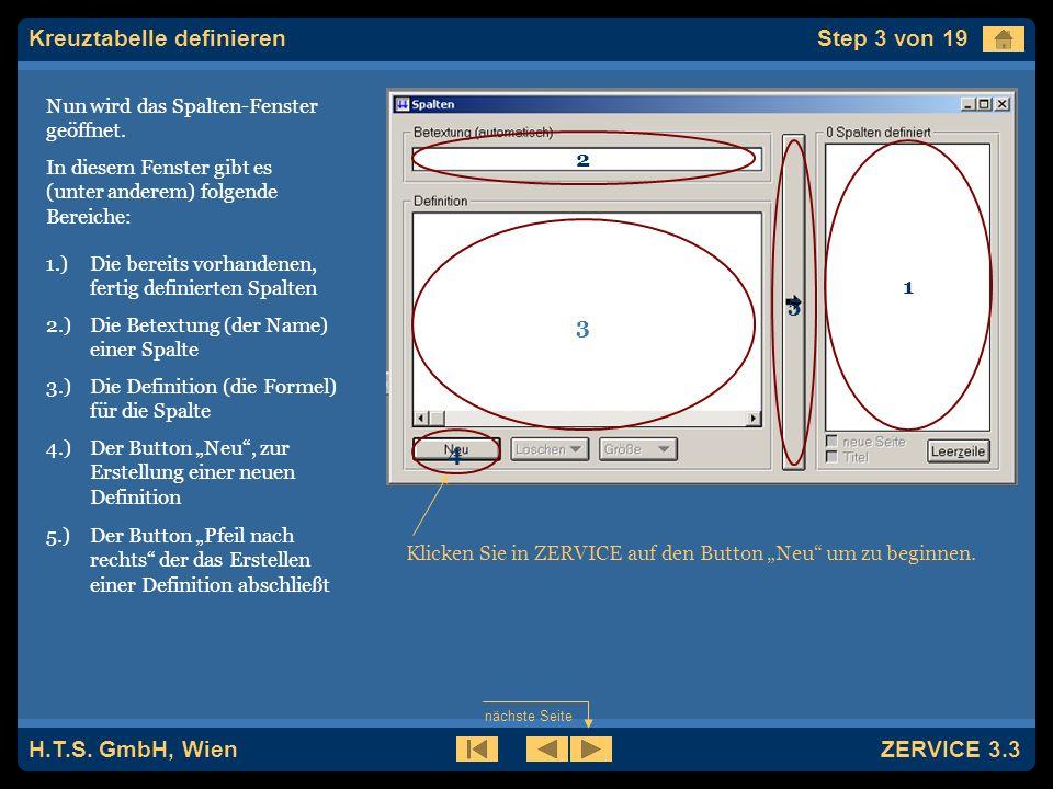 H.T.S. GmbH, Wien ZERVICE 3.3 Als erstes muß die gewünschte Zählart ausgewählt werden.