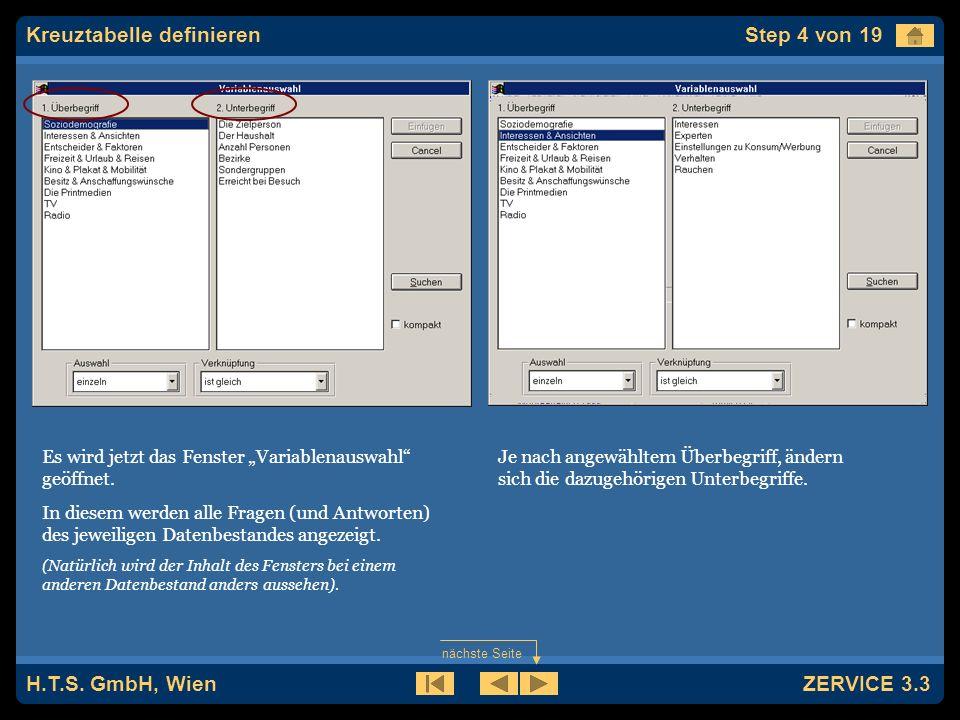 H.T.S. GmbH, Wien ZERVICE 3.3 Nun wird das Spalten-Fenster geöffnet.