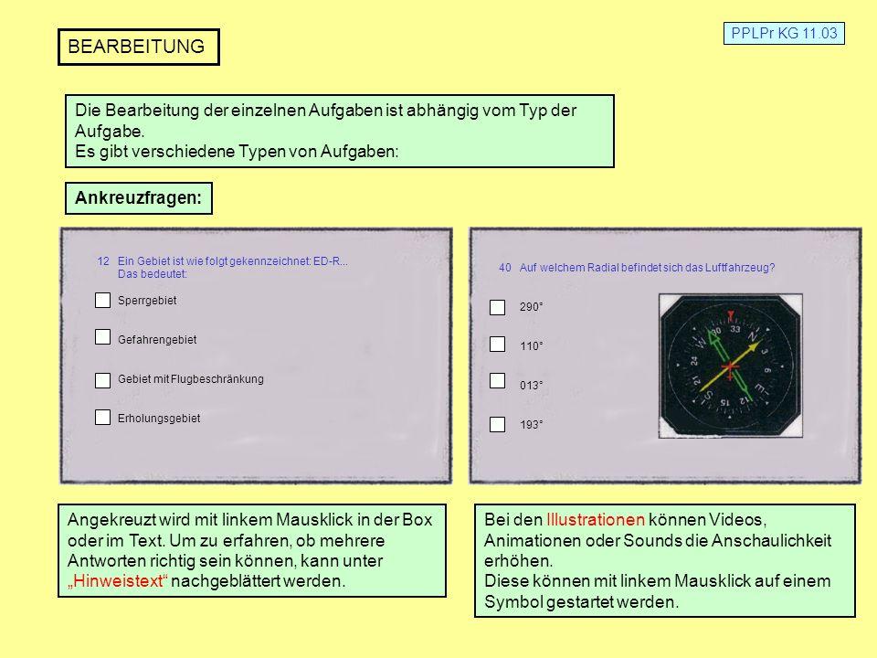 PPLPr KG 11.03 BEARBEITUNG Die Bearbeitung der einzelnen Aufgaben ist abhängig vom Typ der Aufgabe. Es gibt verschiedene Typen von Aufgaben: 12 Ein Ge