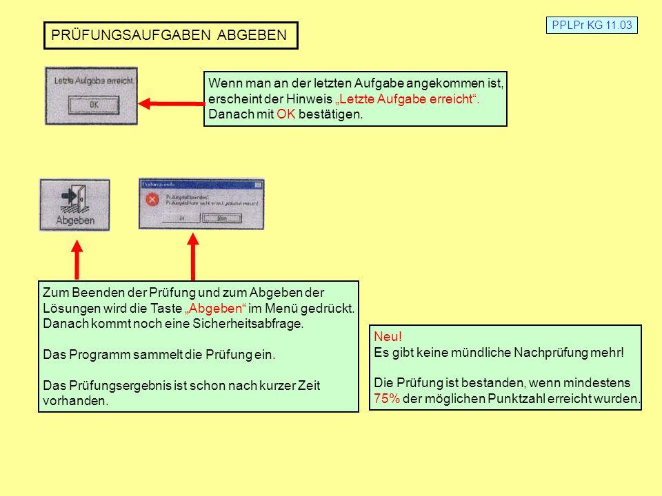 PPLPr KG 11.03 HILFSMITTEL Folgende Hilfsmittel sind erlaubt: Luftfahrtkarten ICAO 1:500000 FRA und HAN (mitbringen) Central-Form (geht nach der Prüfung zu den Prüfungsakten) Taschenrechner (nicht programmierbar) Das Prüfungsprogramm selbst stellt auch einen Taschenrechner zur Verfügung NAV-Rechner (Aristo Aviat, Navimat o.ä.) Lineal, Kursdreieck, Winkelmesser, Zirkel usw.