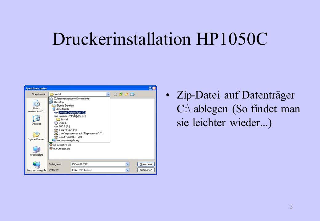 23 Druckerinstallation HP1050C Jetzt installiert Windows den Plotter und man kann ihn dann in der immer noch offenen Druckerverwaltung finden.