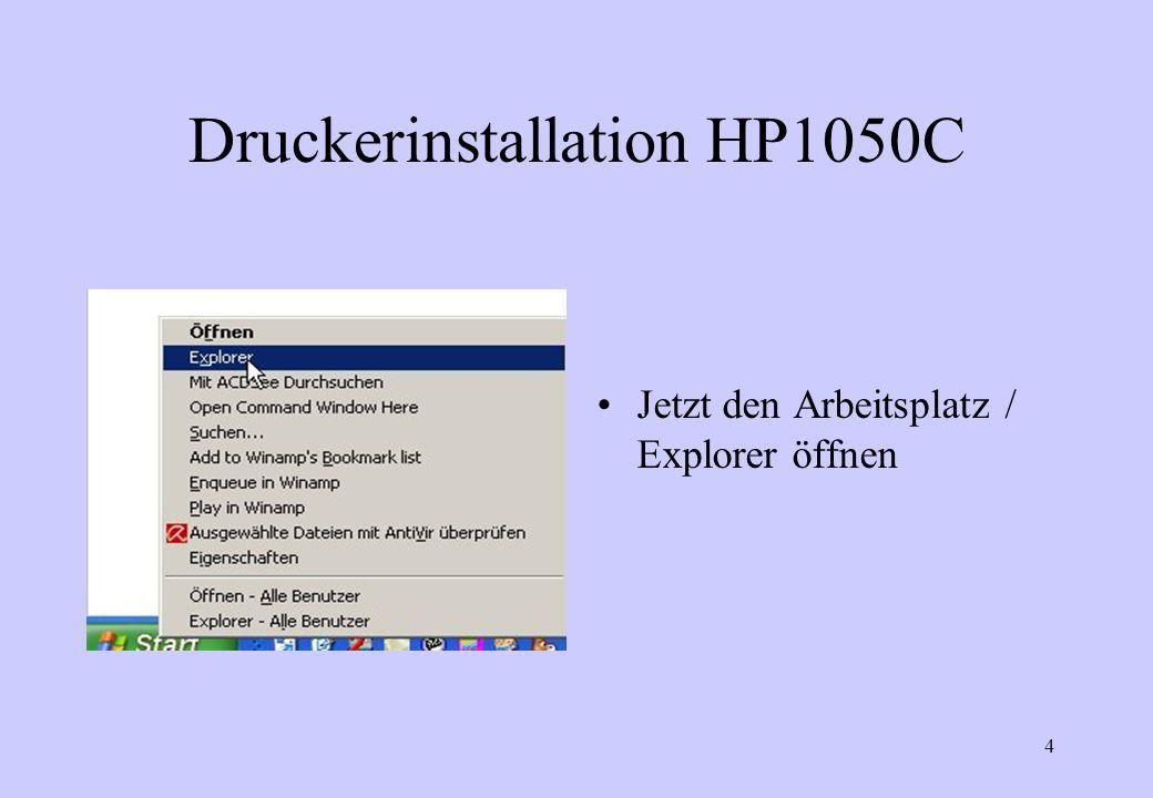 5 Druckerinstallation HP1050C Die Zip-Datei finden und entpacken.