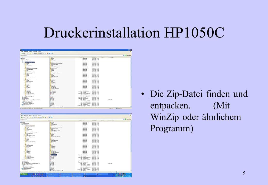 6 Druckerinstallation HP1050C Das Verzeichnis merken