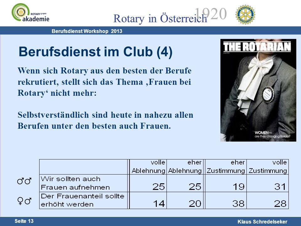 Harald Marschner Seite 13 Klaus Schredelseker Rotary in Österreich 1920 Berufsdienst Workshop 2013 Wenn sich Rotary aus den besten der Berufe rekrutie