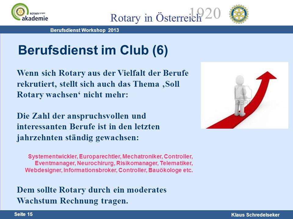 Harald Marschner Seite 15 Klaus Schredelseker Rotary in Österreich 1920 Berufsdienst Workshop 2013 Wenn sich Rotary aus der Vielfalt der Berufe rekrut