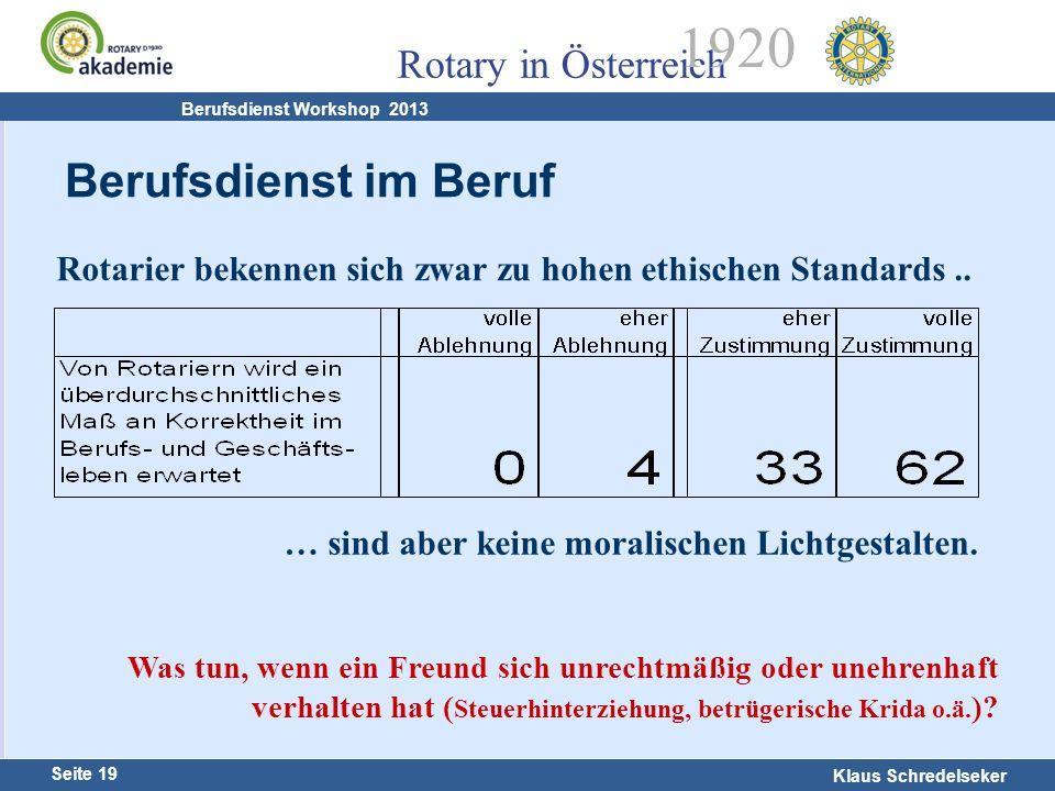 Harald Marschner Seite 19 Klaus Schredelseker Rotary in Österreich 1920 Berufsdienst Workshop 2013 Rotarier bekennen sich zwar zu hohen ethischen Stan