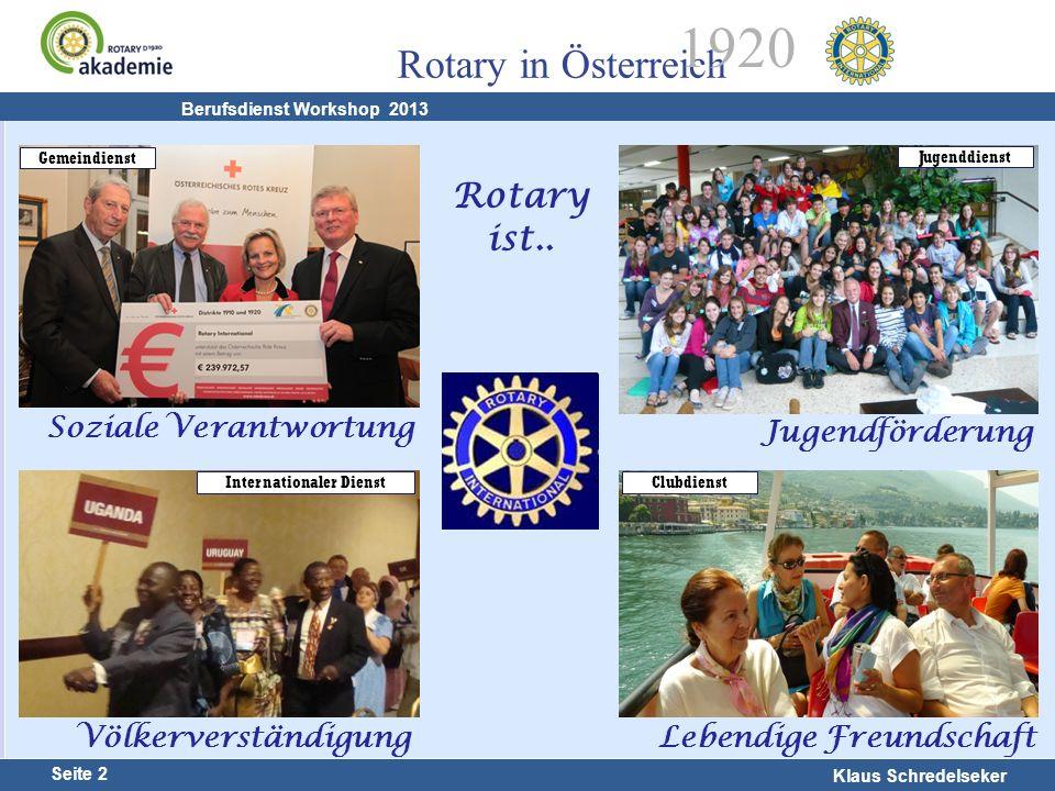 Harald Marschner Seite 2 Klaus Schredelseker Rotary in Österreich 1920 Berufsdienst Workshop 2013 Rotary ist.. Jugendförderung Lebendige Freundschaft