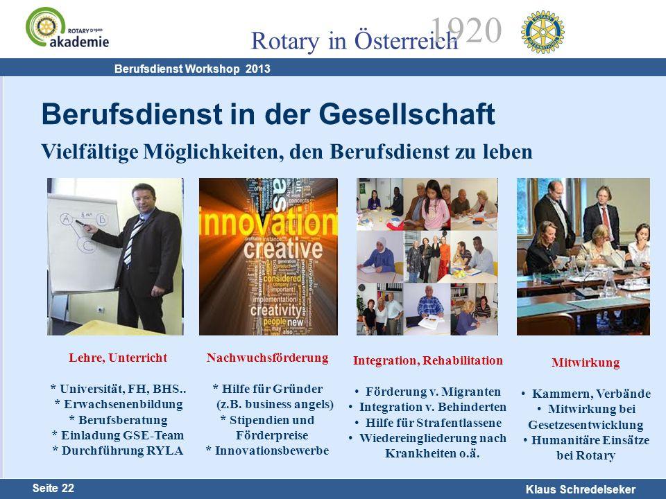 Harald Marschner Seite 22 Klaus Schredelseker Rotary in Österreich 1920 Berufsdienst Workshop 2013 Vielfältige Möglichkeiten, den Berufsdienst zu lebe