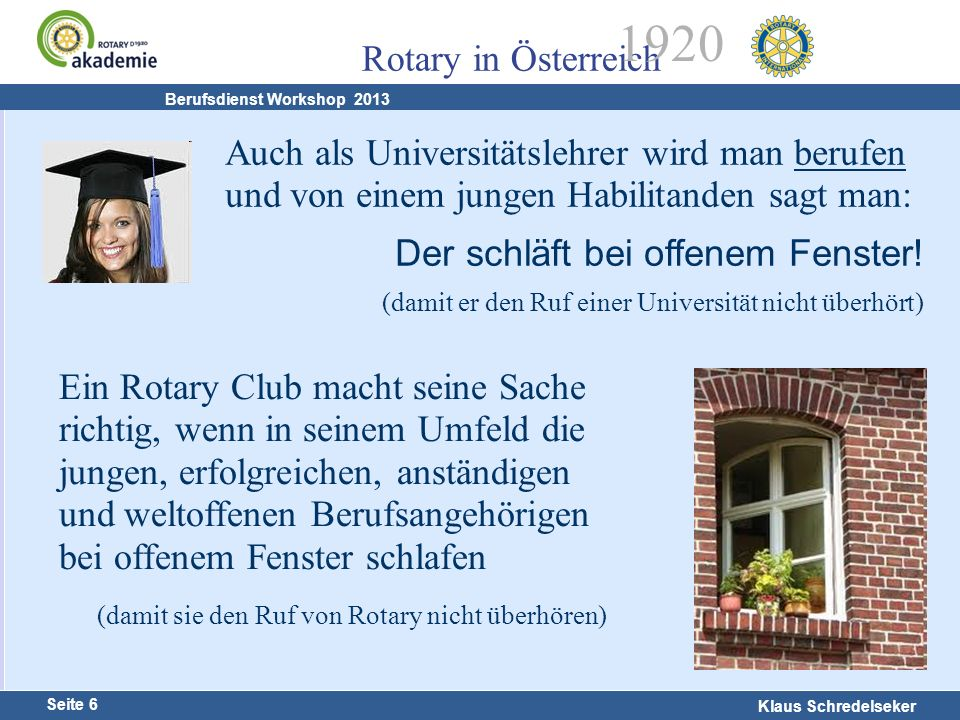 Harald Marschner Seite 6 Klaus Schredelseker Rotary in Österreich 1920 Berufsdienst Workshop 2013 Auch als Universitätslehrer wird man berufen und von