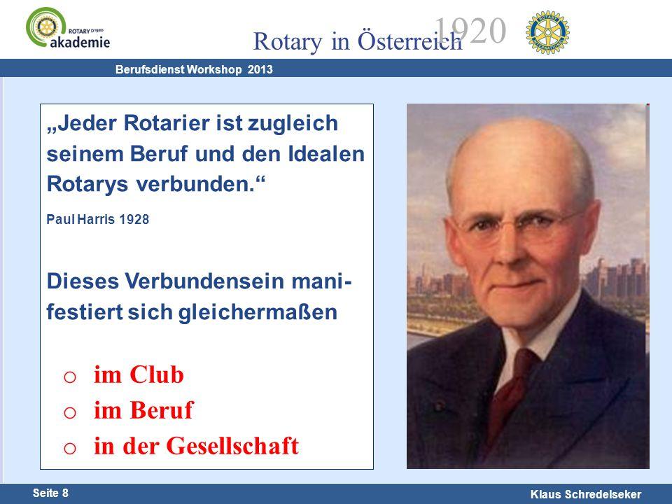 Harald Marschner Seite 8 Klaus Schredelseker Rotary in Österreich 1920 Berufsdienst Workshop 2013 Jeder Rotarier ist zugleich seinem Beruf und den Ide