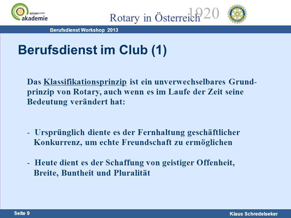 Harald Marschner Seite 9 Klaus Schredelseker Rotary in Österreich 1920 Berufsdienst Workshop 2013 Berufsdienst im Club (1) Das Klassifikationsprinzip