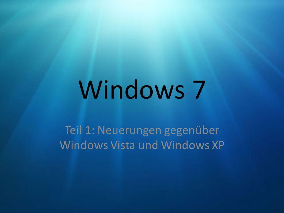 Windows 7 Teil 1: Neuerungen gegenüber Windows Vista und Windows XP