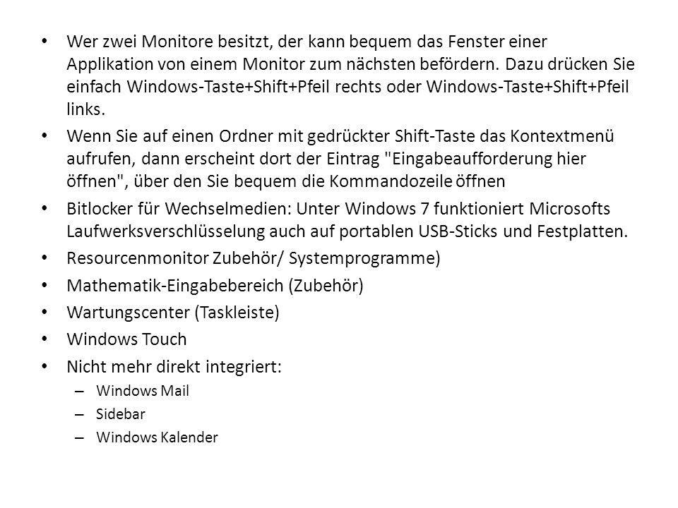 Wer zwei Monitore besitzt, der kann bequem das Fenster einer Applikation von einem Monitor zum nächsten befördern. Dazu drücken Sie einfach Windows-Ta
