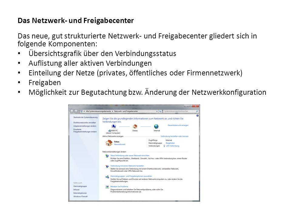Das Netzwerk- und Freigabecenter Das neue, gut strukturierte Netzwerk- und Freigabecenter gliedert sich in folgende Komponenten: Übersichtsgrafik über