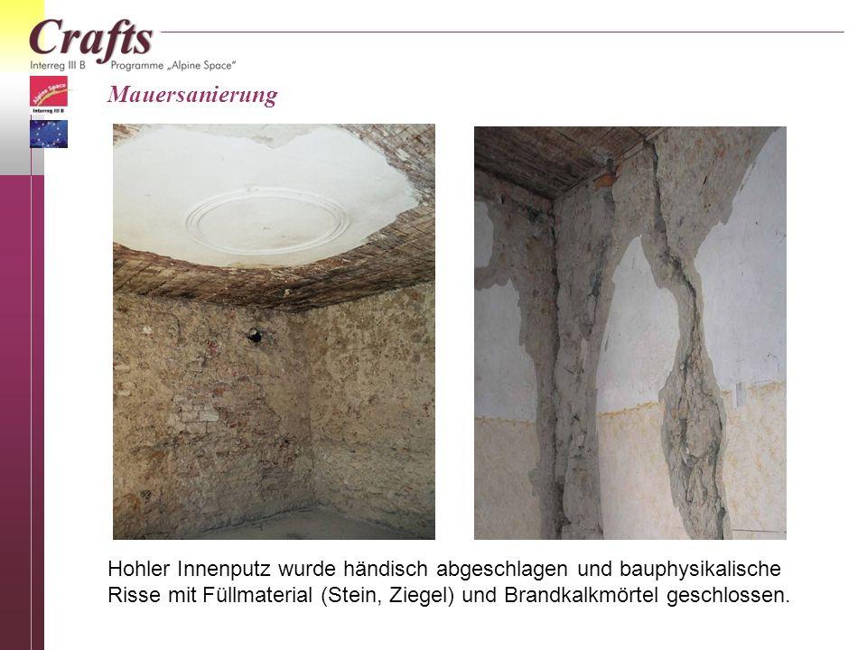 Mauersanierung Hohler Innenputz wurde händisch abgeschlagen und bauphysikalische Risse mit Füllmaterial (Stein, Ziegel) und Brandkalkmörtel geschlosse