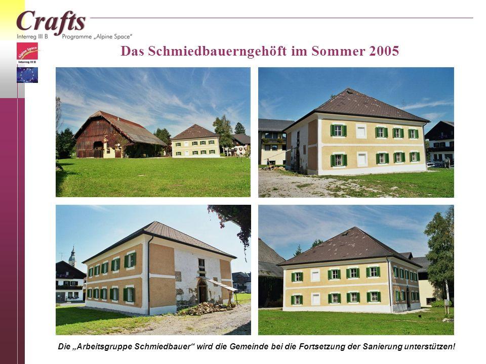 Die Arbeitsgruppe Schmiedbauer wird die Gemeinde bei die Fortsetzung der Sanierung unterstützen! Das Schmiedbauerngehöft im Sommer 2005