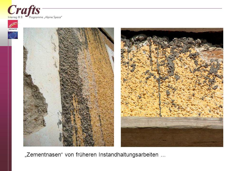 Zementnasen von früheren Instandhaltungsarbeiten...