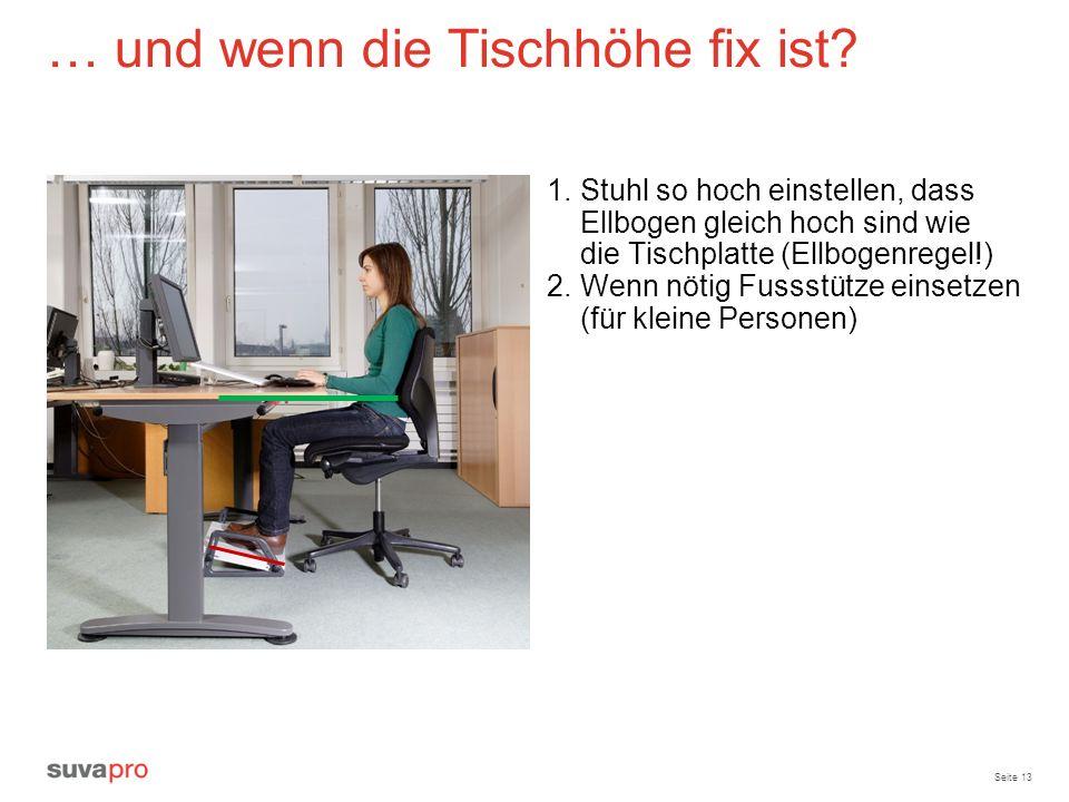 Seite 13 … und wenn die Tischhöhe fix ist? 1.Stuhl so hoch einstellen, dass Ellbogen gleich hoch sind wie die Tischplatte (Ellbogenregel!) 2.Wenn nöti