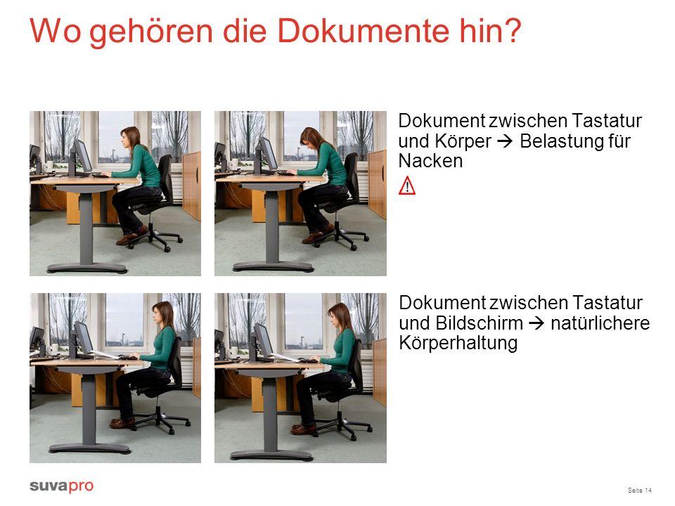 Seite 14 Wo gehören die Dokumente hin? Dokument zwischen Tastatur und Körper Belastung für Nacken Dokument zwischen Tastatur und Bildschirm natürliche
