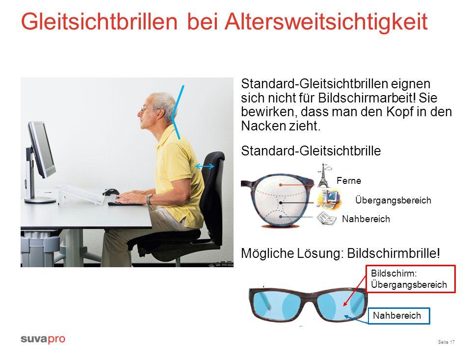 Seite 17 Gleitsichtbrillen bei Altersweitsichtigkeit Mögliche Lösung: Bildschirmbrille! Standard-Gleitsichtbrillen eignen sich nicht für Bildschirmarb