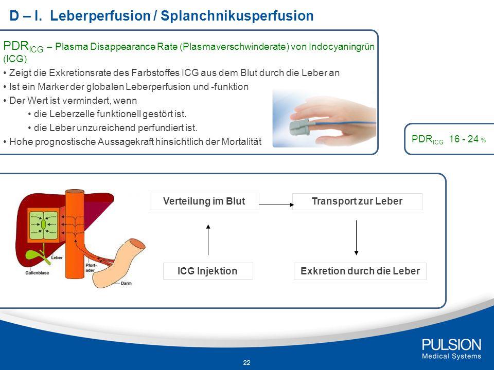 D – I. Leberperfusion / Splanchnikusperfusion PDR ICG – Plasma Disappearance Rate (Plasmaverschwinderate) von Indocyaningrün (ICG) Zeigt die Exkretion