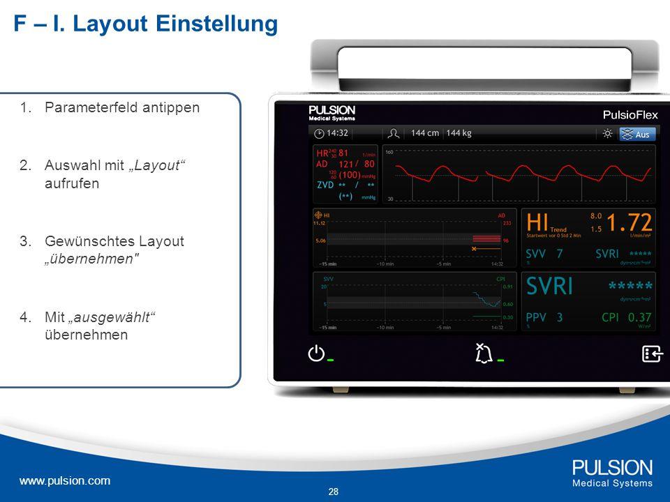 www.pulsion.com 28 F – I. Layout Einstellung 1.Parameterfeld antippen 2. Auswahl mit Layout aufrufen 3.Gewünschtes Layout übernehmen