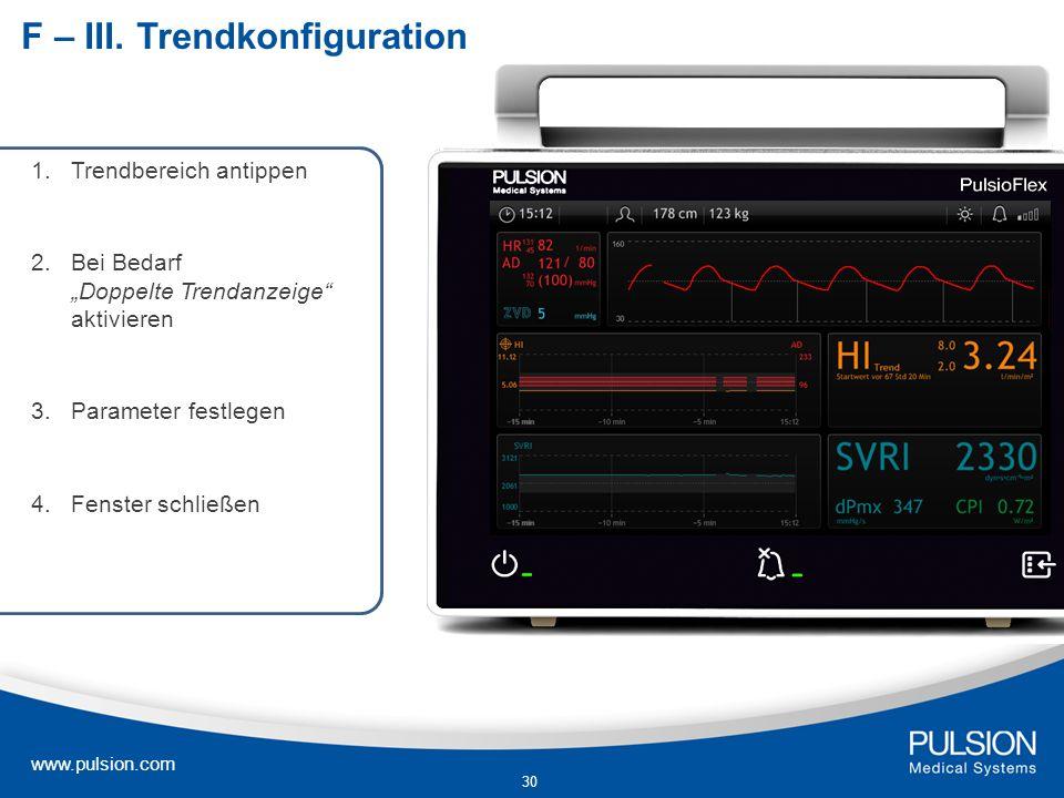 www.pulsion.com 30 F – III. Trendkonfiguration 1.Trendbereich antippen 2.Bei Bedarf Doppelte Trendanzeige aktivieren 3.Parameter festlegen 4.Fenster s