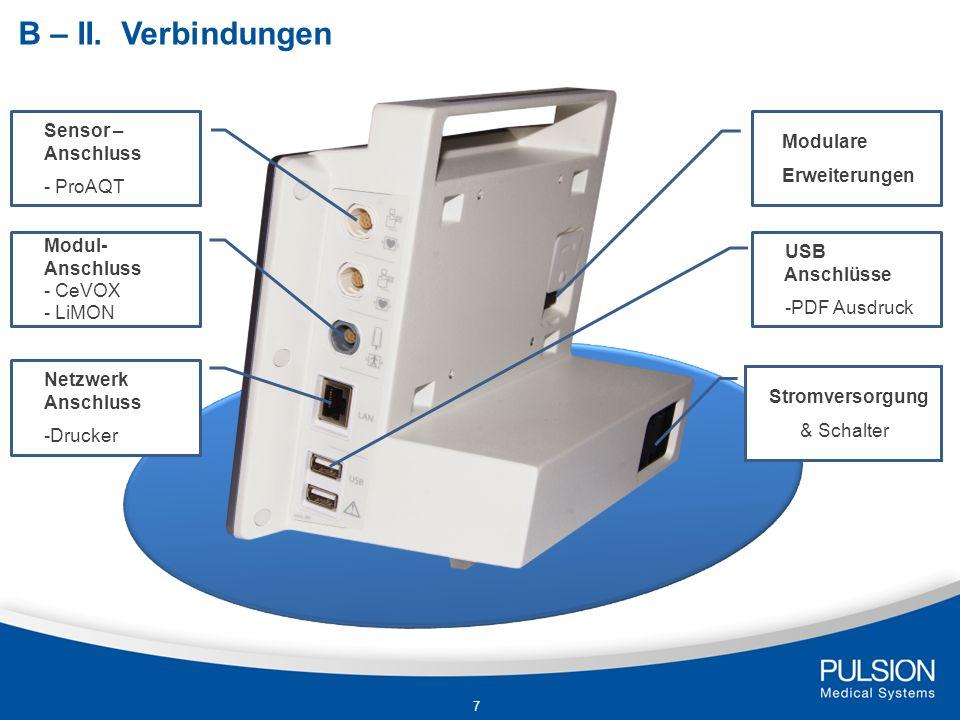 Sensor – Anschluss - ProAQT Modul- Anschluss - CeVOX - LiMON Modulare Erweiterungen Stromversorgung & Schalter B – II. Verbindungen Netzwerk Anschluss
