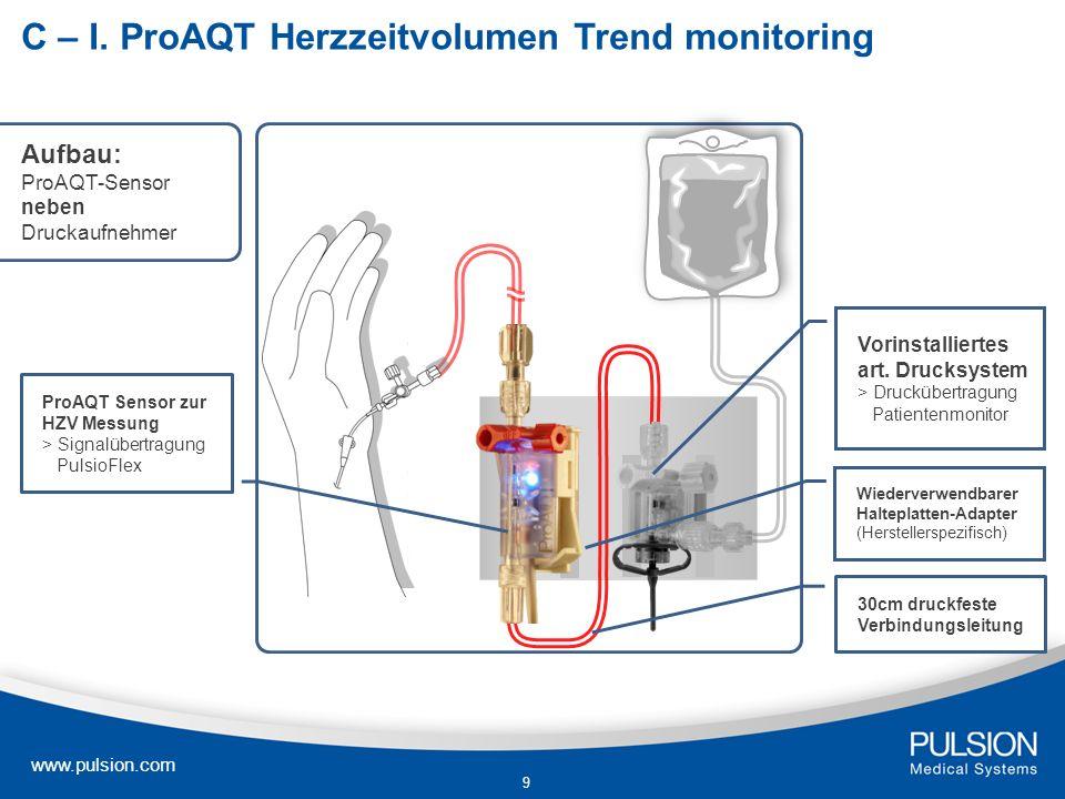 9 C – I. ProAQT Herzzeitvolumen Trend monitoring Vorinstalliertes art. Drucksystem > Druckübertragung Patientenmonitor ProAQT Sensor zur HZV Messung >