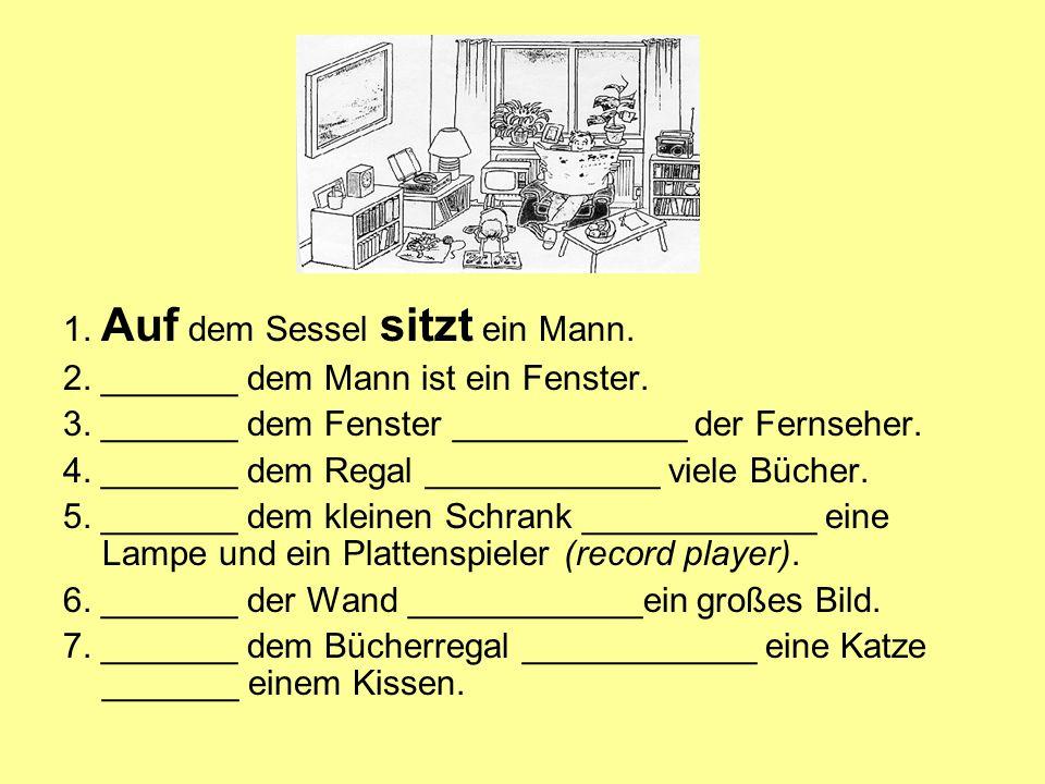 WO.- WOHIN. Ich habe das Telefonbuch ____ (on/shelf) gestellt.