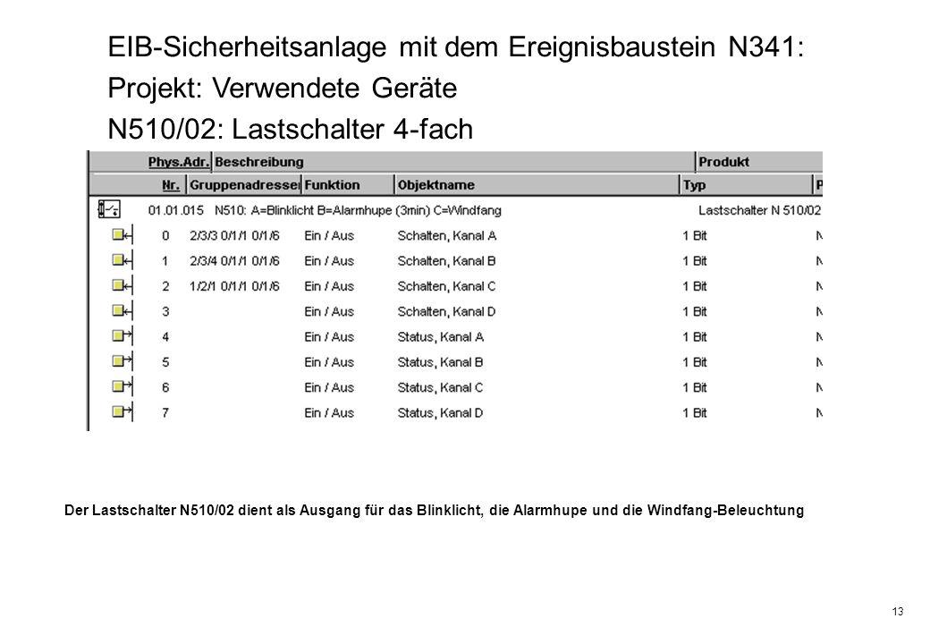 13 EIB-Sicherheitsanlage mit dem Ereignisbaustein N341: Projekt: Verwendete Geräte N510/02: Lastschalter 4-fach Der Lastschalter N510/02 dient als Aus