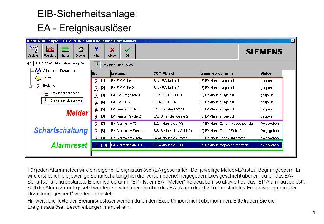 15 EIB-Sicherheitsanlage: EA - Ereignisauslöser Melder Scharfschaltung Alarmreset Für jeden Alarmmelder wird ein eigener Ereignisauslöser(EA) geschaff