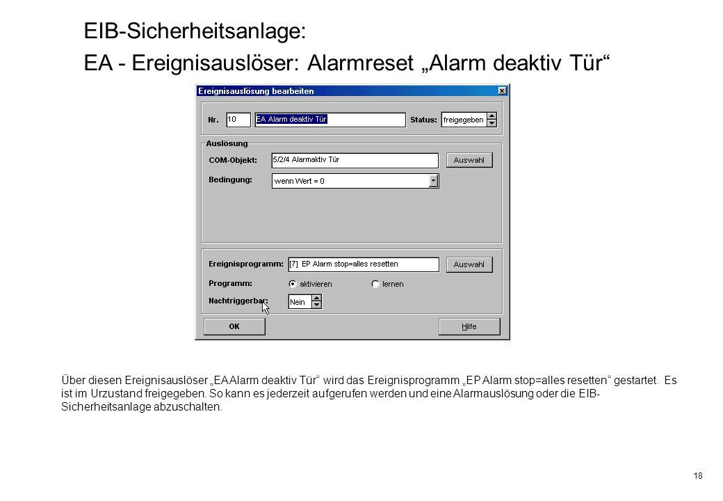 18 EIB-Sicherheitsanlage: EA - Ereignisauslöser: Alarmreset Alarm deaktiv Tür Über diesen Ereignisauslöser EA Alarm deaktiv Tür wird das Ereignisprogr