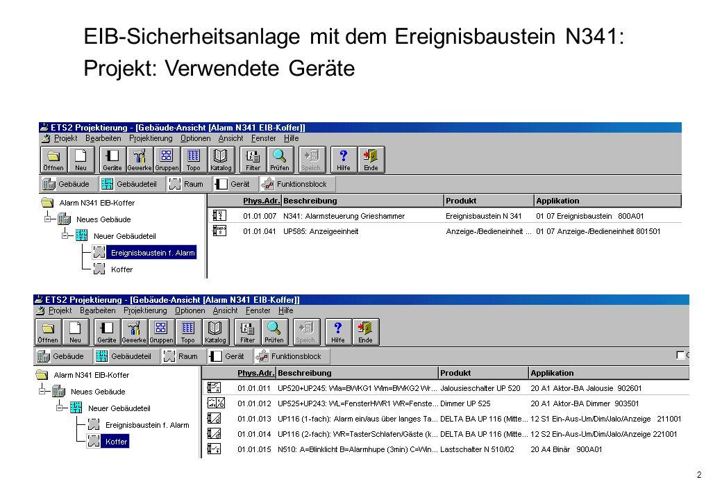 2 EIB-Sicherheitsanlage mit dem Ereignisbaustein N341: Projekt: Verwendete Geräte