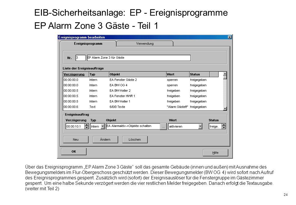 24 EIB-Sicherheitsanlage: EP - Ereignisprogramme EP Alarm Zone 3 Gäste - Teil 1 Über das Ereignisprogramm EP Alarm Zone 3 Gäste soll das gesamte Gebäu