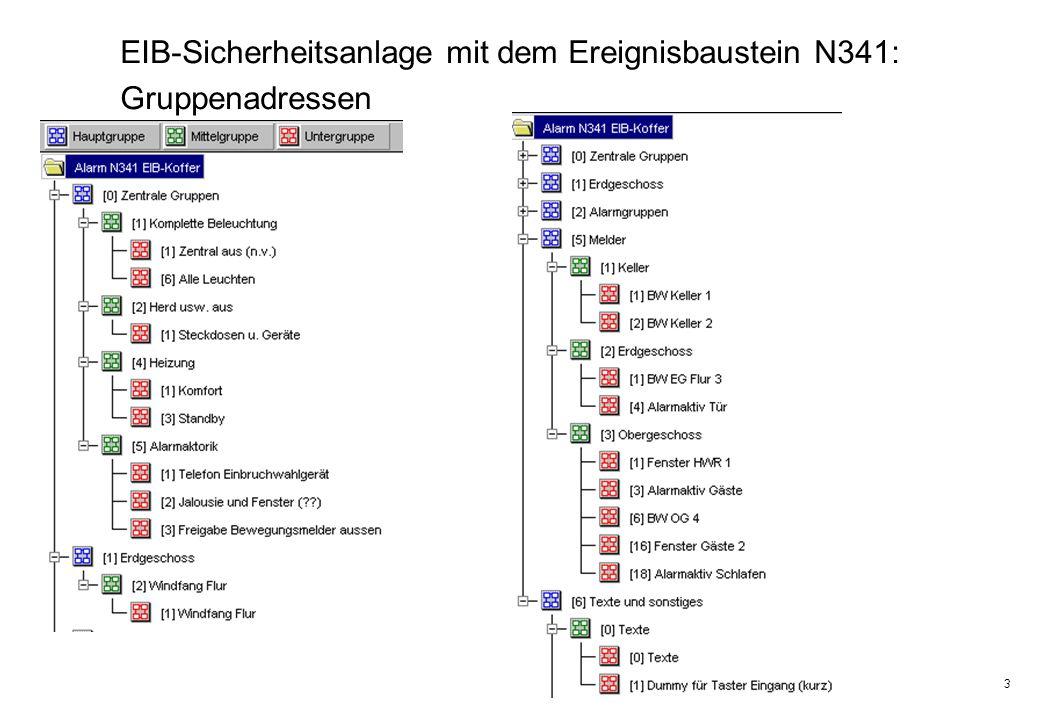 3 EIB-Sicherheitsanlage mit dem Ereignisbaustein N341: Gruppenadressen