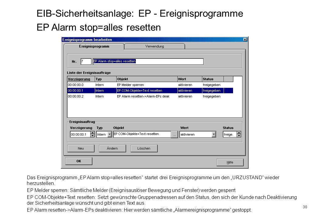 30 EIB-Sicherheitsanlage: EP - Ereignisprogramme EP Alarm stop=alles resetten Das Ereignisprogramm EP Alarm stop=alles resetten startet drei Ereignisp