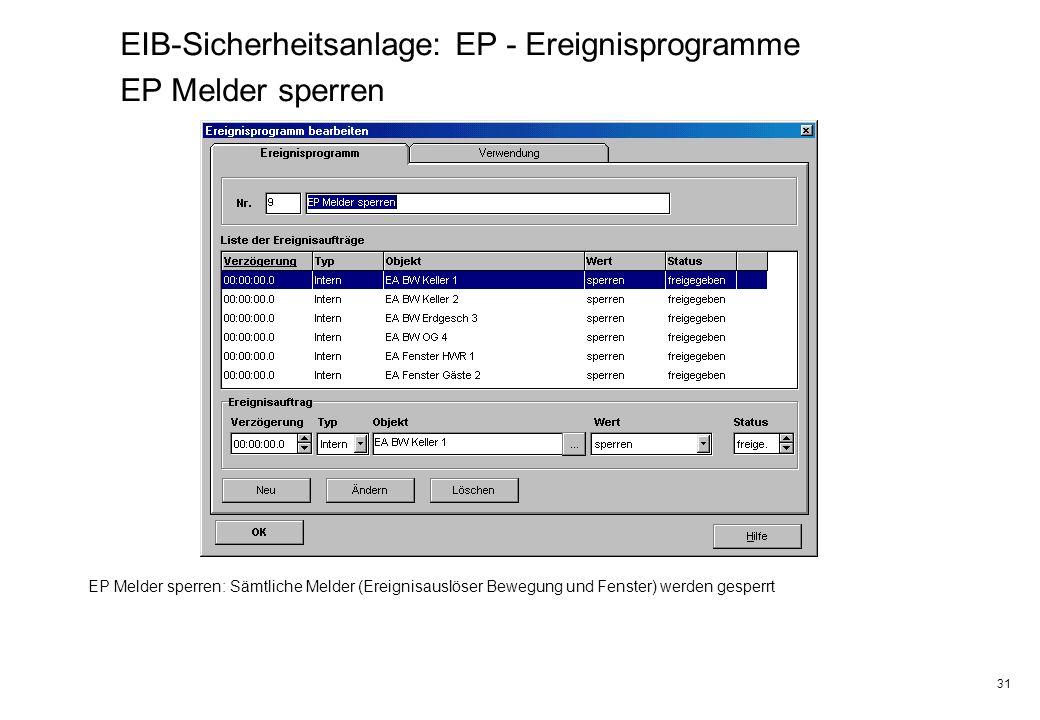 31 EIB-Sicherheitsanlage: EP - Ereignisprogramme EP Melder sperren EP Melder sperren: Sämtliche Melder (Ereignisauslöser Bewegung und Fenster) werden