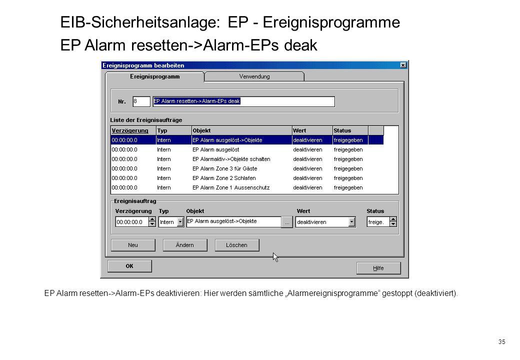 35 EIB-Sicherheitsanlage: EP - Ereignisprogramme EP Alarm resetten->Alarm-EPs deak EP Alarm resetten->Alarm-EPs deaktivieren: Hier werden sämtliche Al