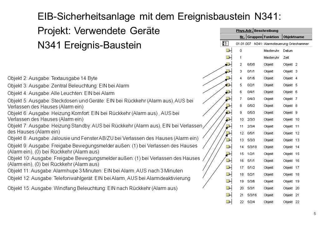 5 EIB-Sicherheitsanlage mit dem Ereignisbaustein N341: Projekt: Verwendete Geräte N341 Ereignis-Baustein Objekt 2: Ausgabe: Textausgabe 14 Byte Objekt