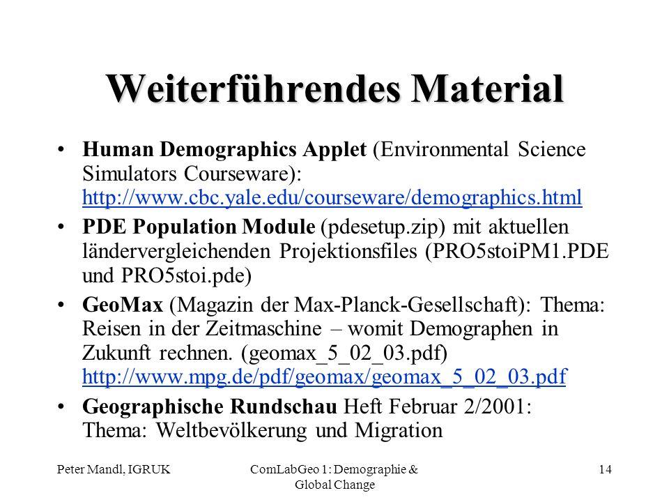 Peter Mandl, IGRUKComLabGeo 1: Demographie & Global Change 14 Weiterführendes Material Human Demographics Applet (Environmental Science Simulators Cou