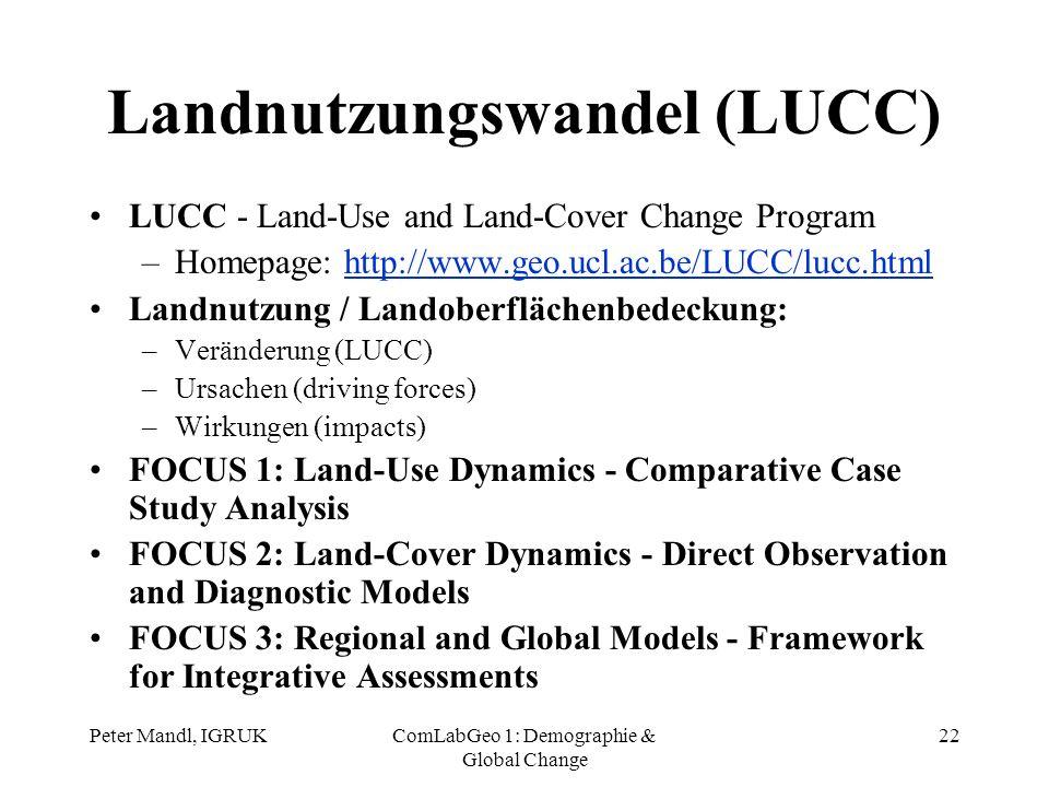 Peter Mandl, IGRUKComLabGeo 1: Demographie & Global Change 22 Landnutzungswandel (LUCC) LUCC - Land-Use and Land-Cover Change Program –Homepage: http: