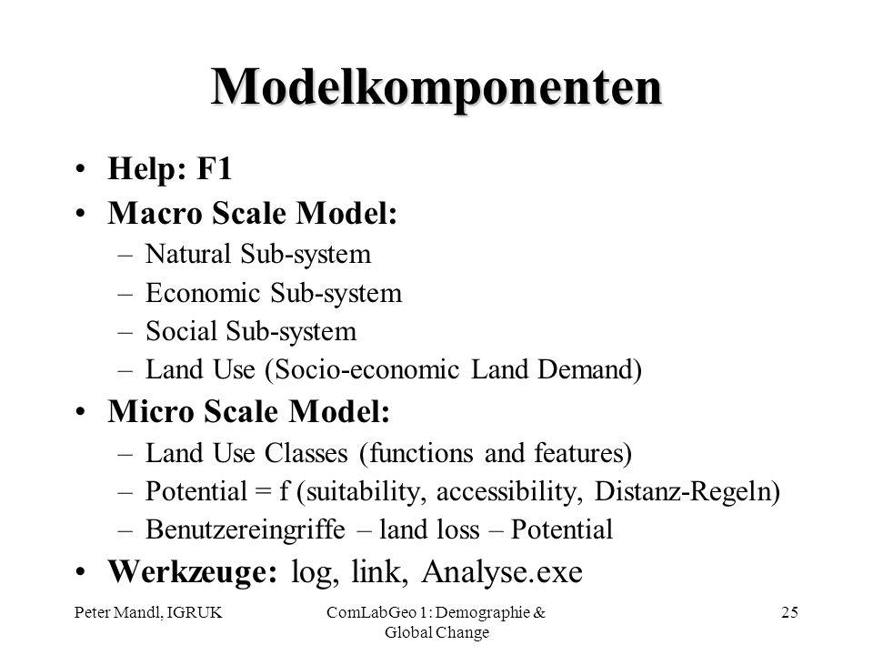 Peter Mandl, IGRUKComLabGeo 1: Demographie & Global Change 25 Modelkomponenten Help: F1 Macro Scale Model: –Natural Sub-system –Economic Sub-system –S