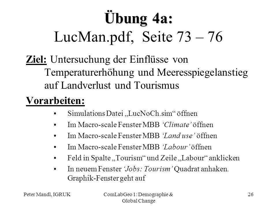 Peter Mandl, IGRUKComLabGeo 1: Demographie & Global Change 26 Übung 4a: Übung 4a: LucMan.pdf, Seite 73 – 76 Ziel: Untersuchung der Einflüsse von Tempe