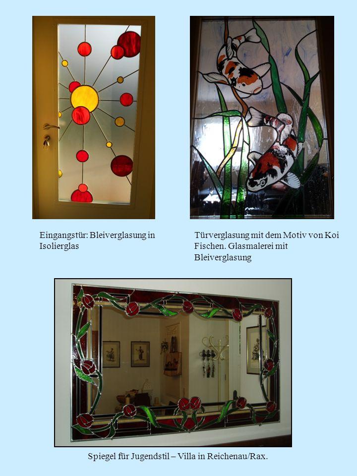 Spiegel für Jugendstil – Villa in Reichenau/Rax. Türverglasung mit dem Motiv von Koi Fischen. Glasmalerei mit Bleiverglasung Eingangstür: Bleiverglasu